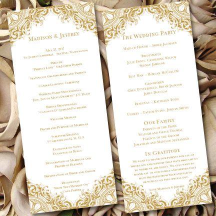 Wedding Ceremony Program Template Vintage Gold By Weddingtemplates Wedding Ceremony Programs Template Ceremony Program Template Wedding Ceremony Programs