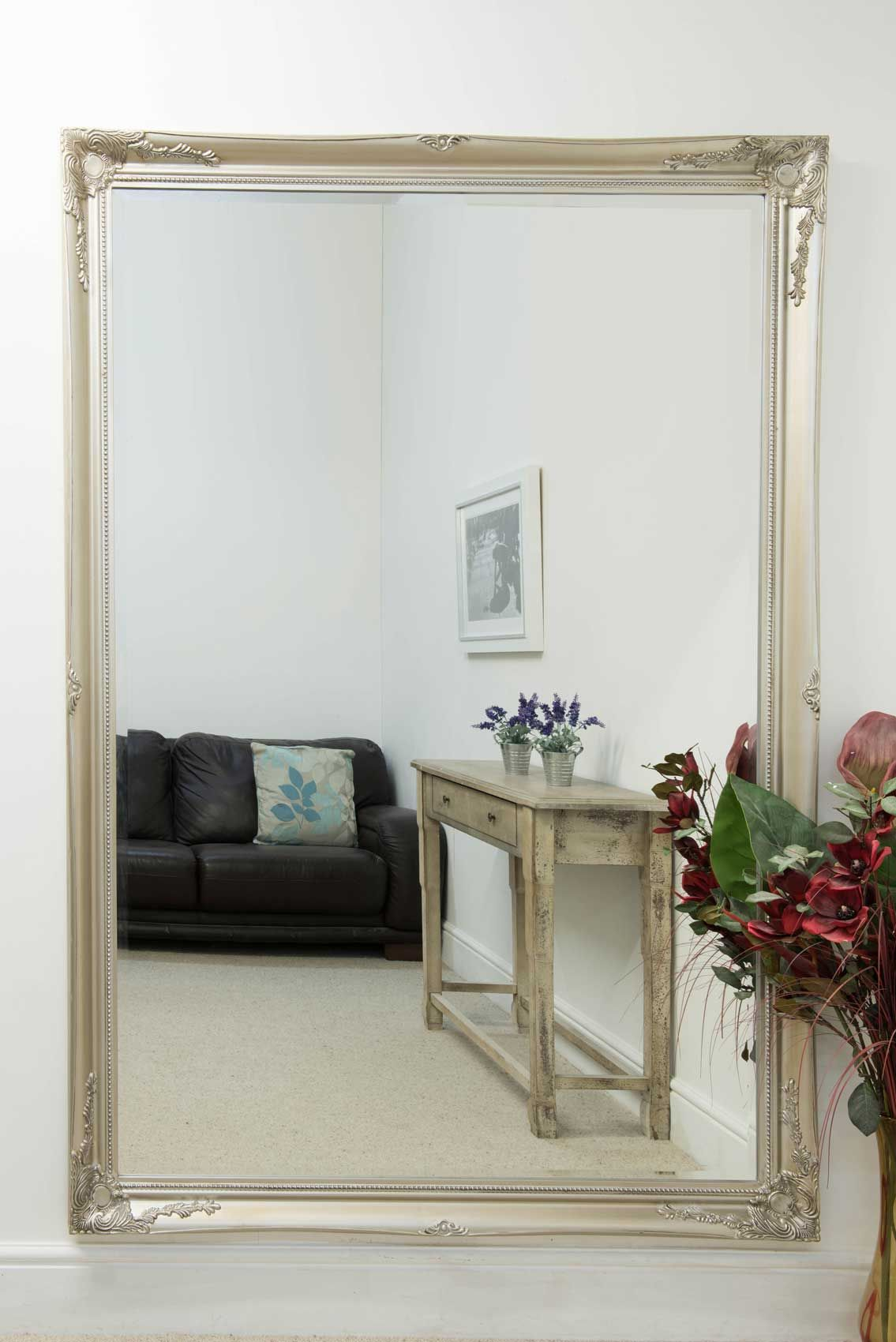 Buckland Extra Large Silver Mirror 200x140cm Extra Large Wall Mirrors Silver Framed Mirror Mirror