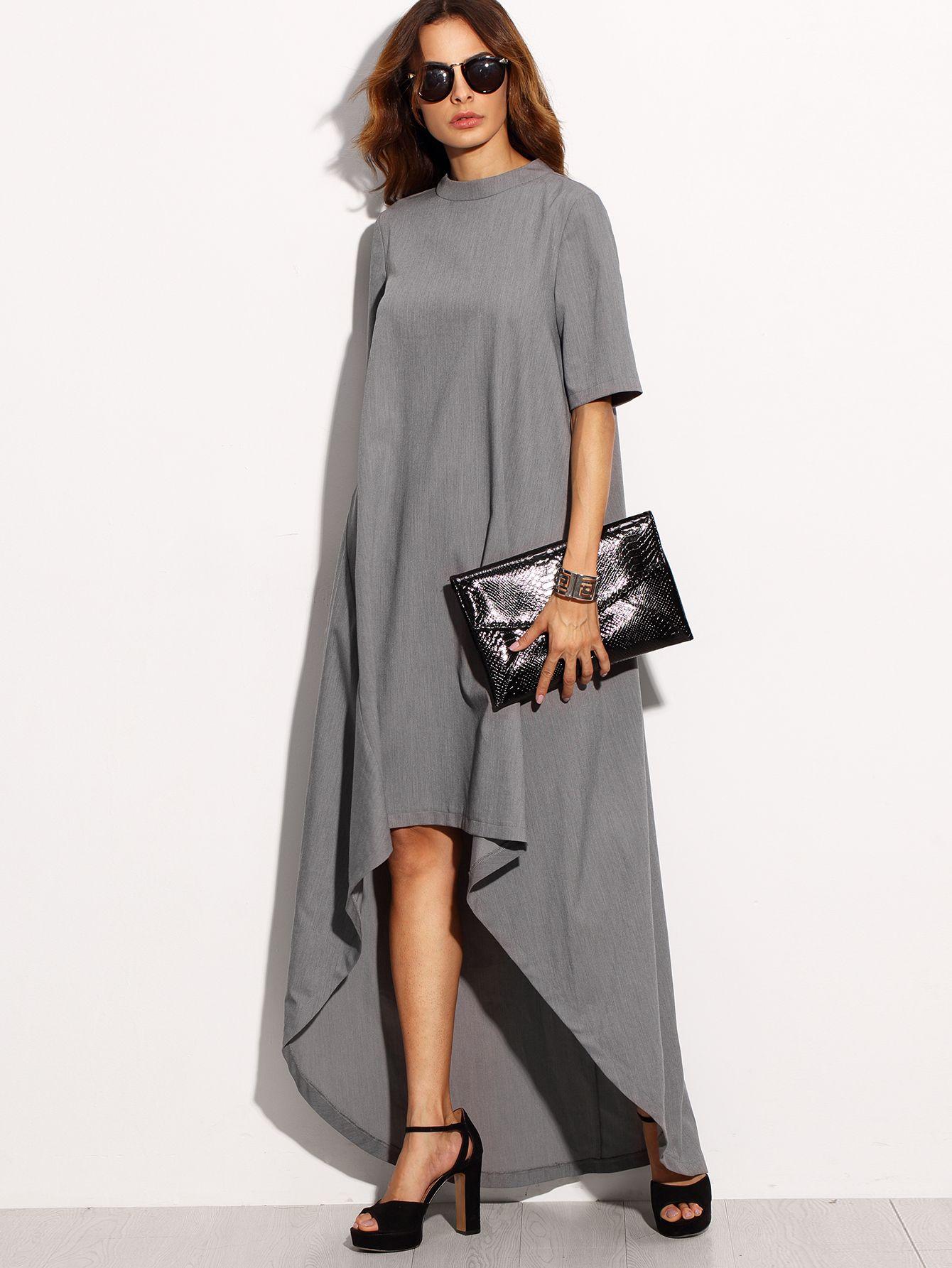 Grey High Neck Short Sleeve High Low Dress 27 00 Maxi Dress With Sleeves Short Sleeve Maxi Dresses High Low Dress [ 1785 x 1340 Pixel ]