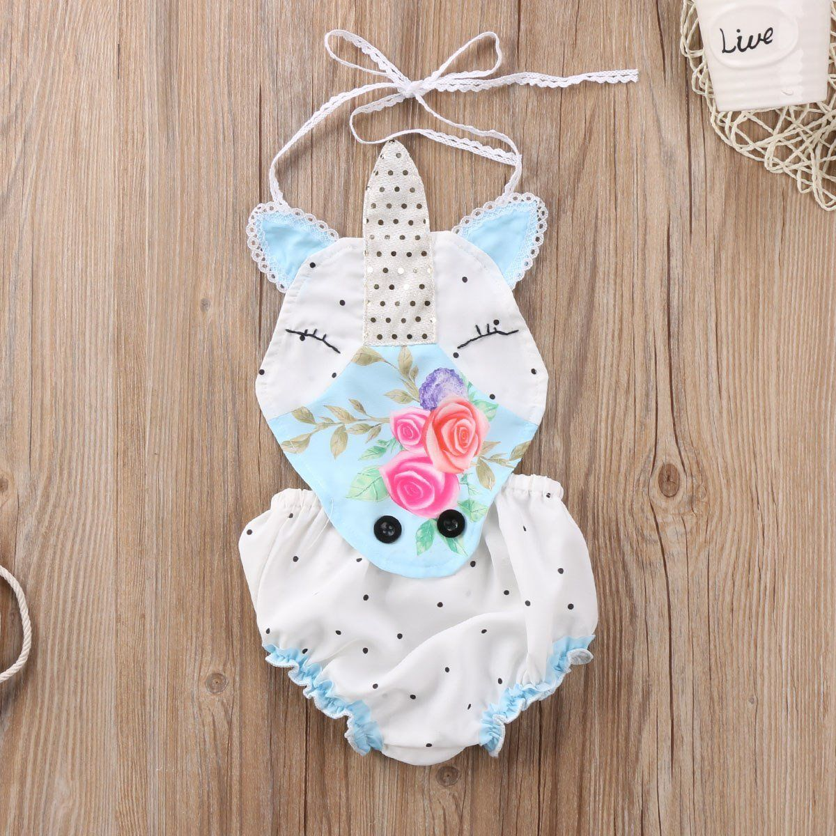 6eaf221a4ee9 Baby Girl Unicorn Floral Strap Sleeveless Romper Backless Polka Dot ...
