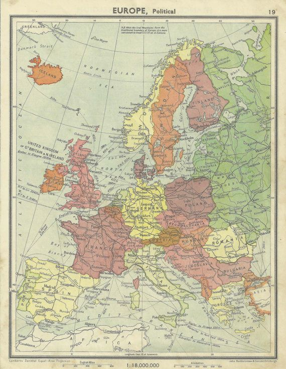 1940s Map Of Europe.Western Europe Old Map Vintage School Atlas 1940s By Impalaprints