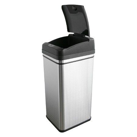 Touchless 13 Gallon Stainless Steel Automatic Touchless Trash Can ...