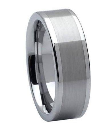 Men/'s Wedding ring gift for him Tungsten Brushed Center Multiple Vertical Groove Beveled Edge Ring Tungsten Wedding band FREE ENGRAVING