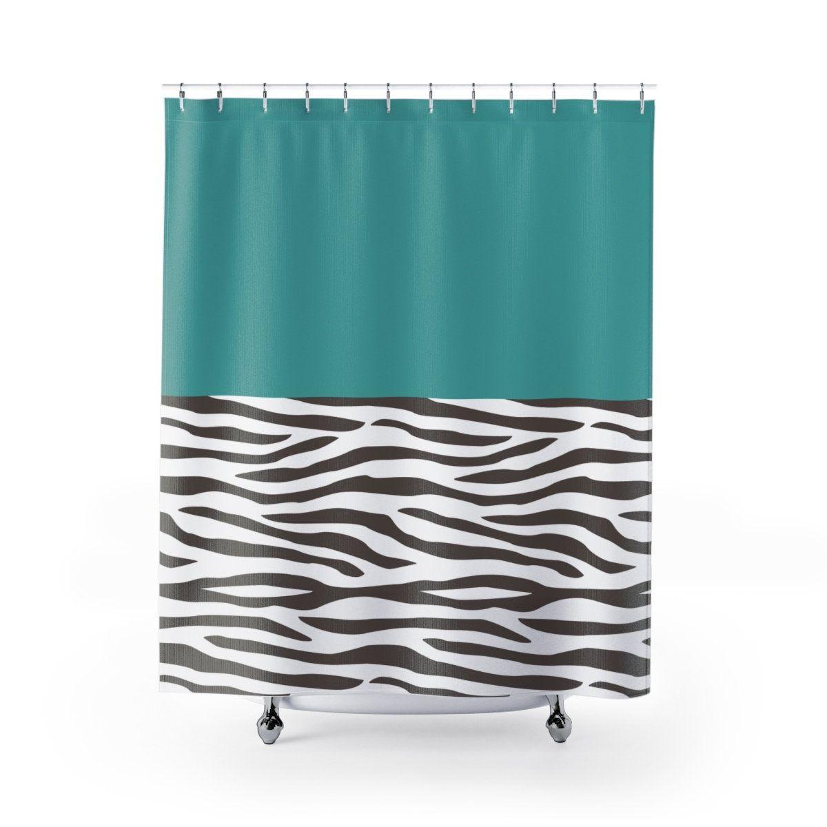 Yellow Bathroomideas: Teal Zebra Pattern Shower Curtain