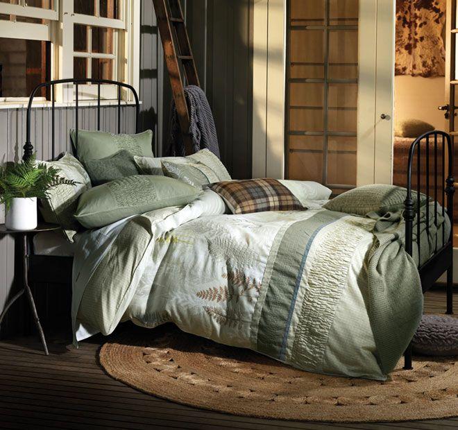 Linen House Fern Quilt Cover Range Green