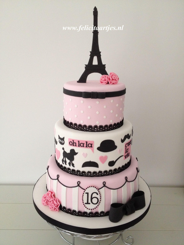 Pink Black Paris Cake