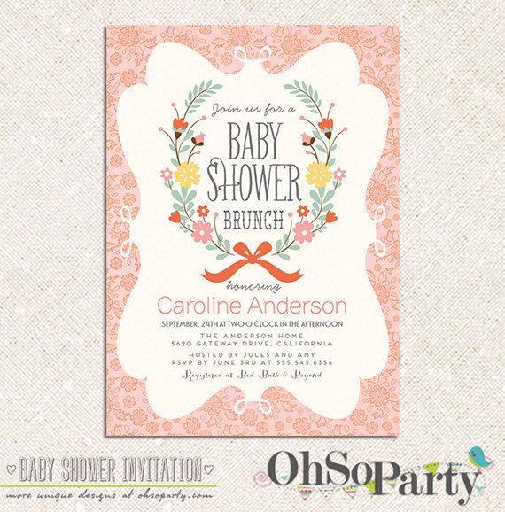 PETITE BRUNCH Custom Printable Baby Shower Brunch Invitation