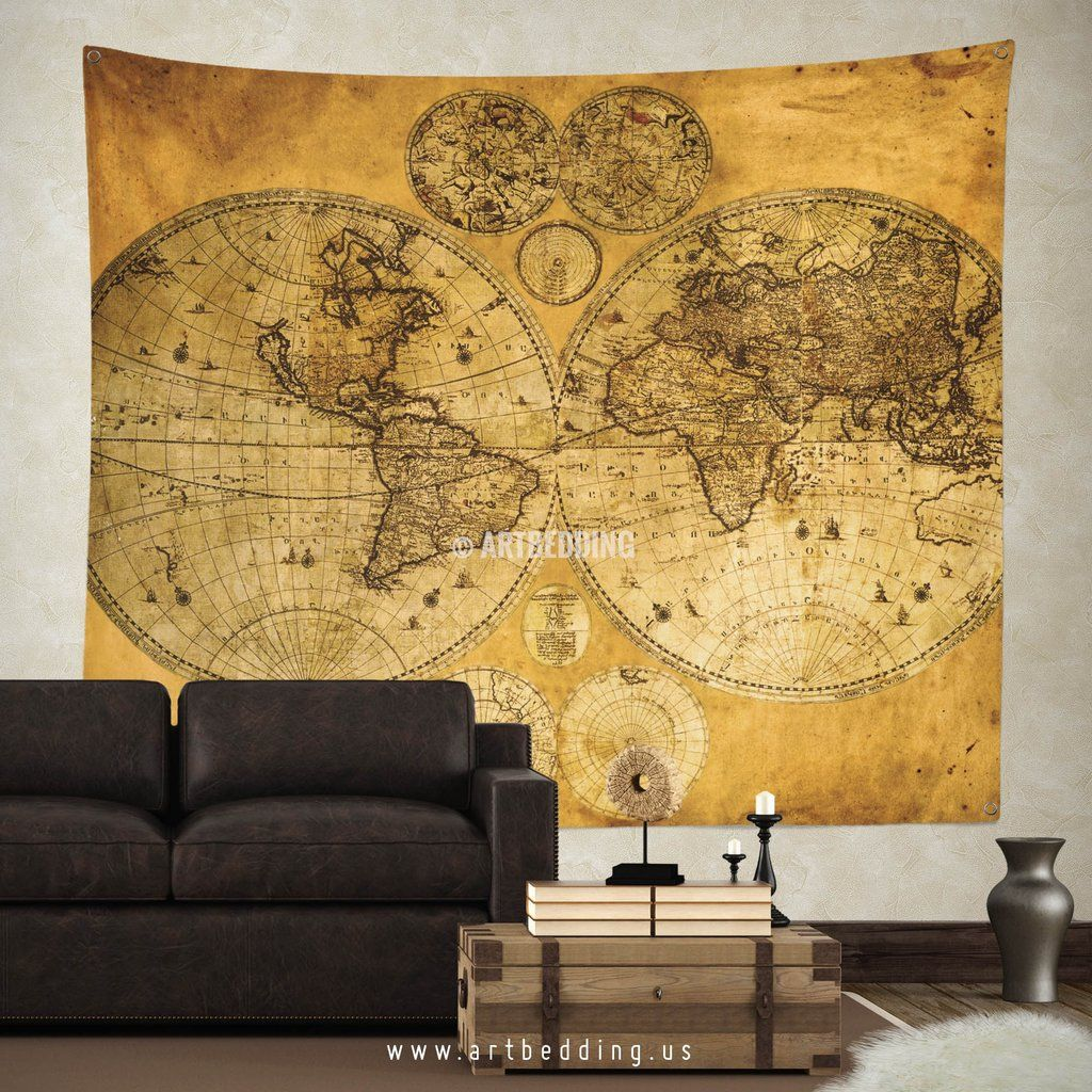 Old two hemispheres world map wall tapestry, vintage interior world ...