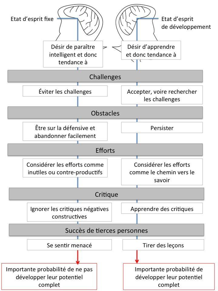 French Growth Mindset And Fixed Mindset Selon Carol Dweck Nos Apprentissages Sont Negativement Impacte Etat D Esprit Apprentissage Changer D Etat D Esprit