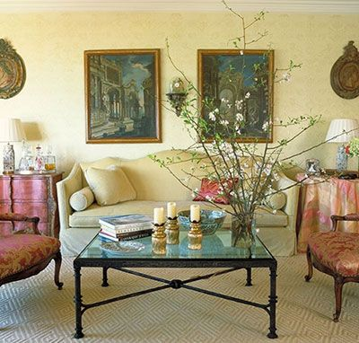 This room achieves a true triadic color scheme, by using the three ...
