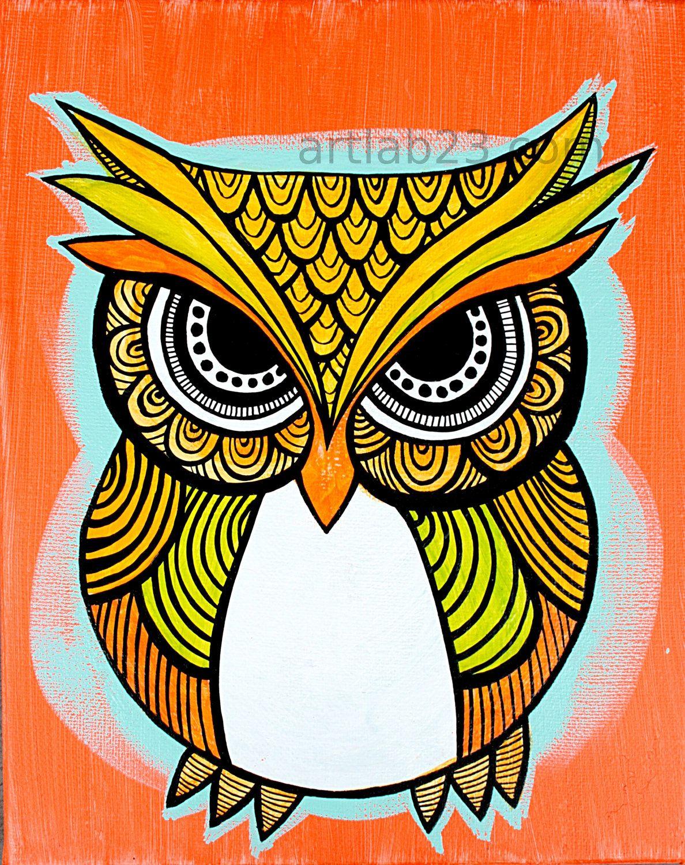 owl tattoo designs owl art print 8x10 orange indian aboriginal tribal henna design. Black Bedroom Furniture Sets. Home Design Ideas