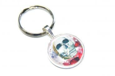 Just Trisha - Schlüsselanhänger Totenkopf mit Rose
