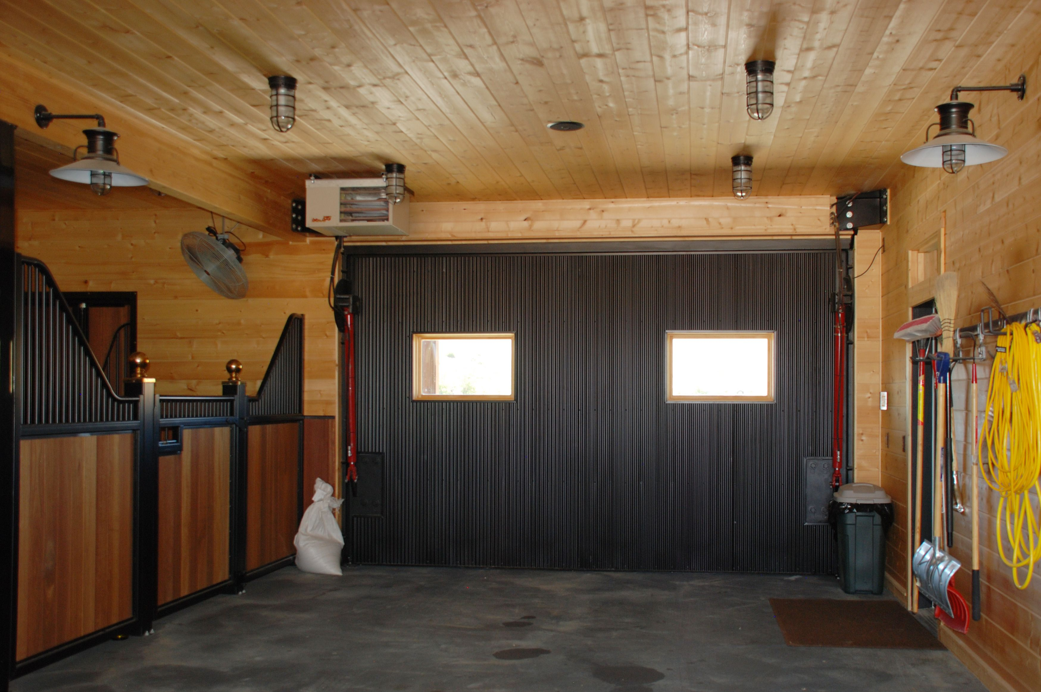 Black corrugated metal on the inside of the garage door for Garage roofing options