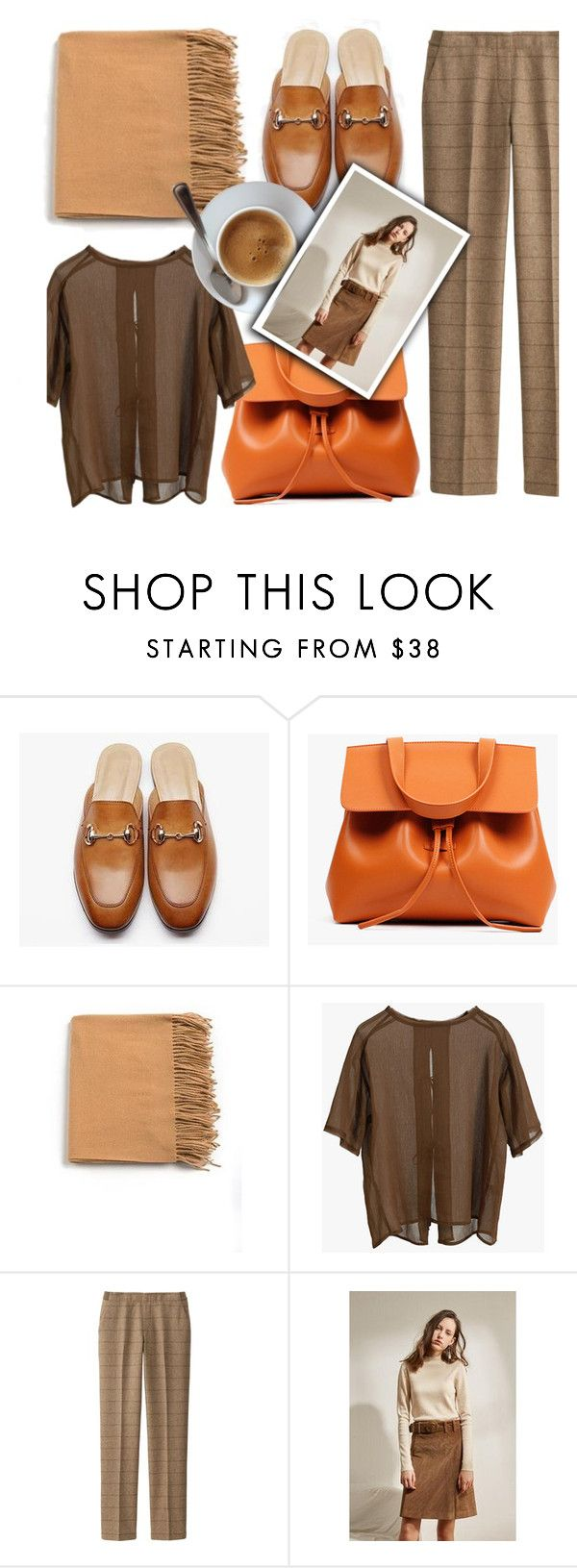 """""""Earth Tones"""" by genuine-people ❤ liked on Polyvore featuring Uniqlo, brown, earthtones and mules"""