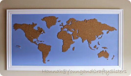 Diy framed cork board world map crafty stuff pinterest diy diy framed cork board world map gumiabroncs Images
