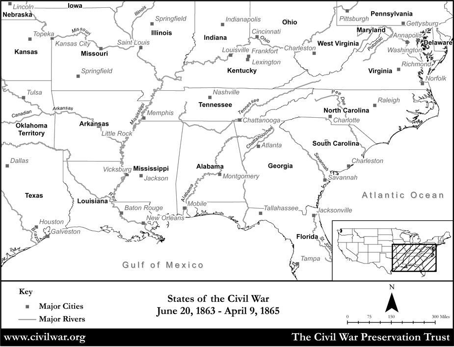 Blank Civil War States Map With State Names And Rivers History - Civil war blank map us history