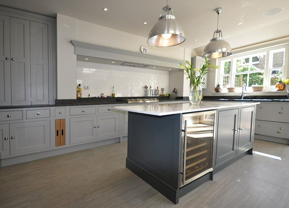 Grey kitchen with kitchen cupboards in Farrow and Ball Lamp Room