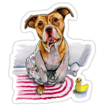 This is a drawing of a brown pit bull dog in a floral bathrobe. He's sitting in front of the bath tub with his head tilted slightly. There is a rubber ducky sitting next to him on the floor looking up to him. It is painted in watercolor. • Also buy this artwork on stickers, apparel, kids clothes, and more.