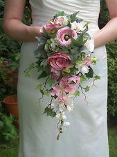 Vintage Style Silk Cream Pink  Brides Cascading Wedding Shower Bouquet Flowers