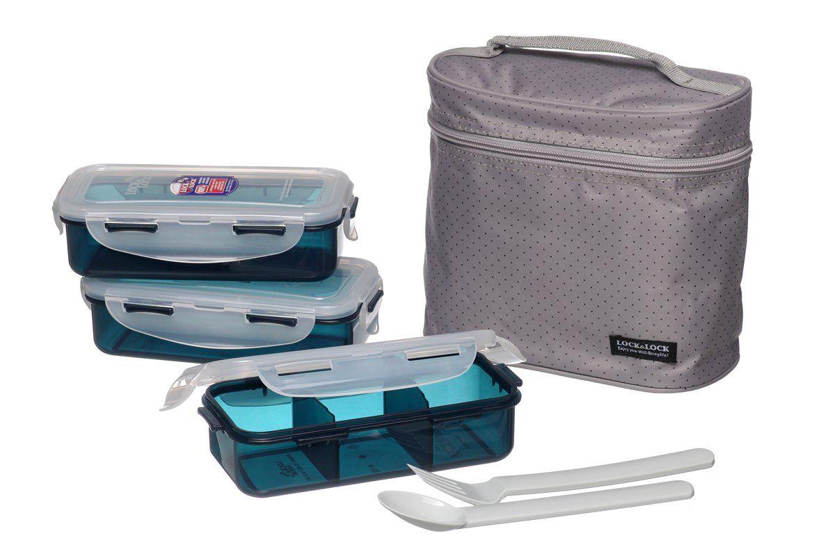 Lock & Lock Brotzeitbox Lunch Box Bento Set W/Chopstics - HPL754DG COMBO, Gray: Amazon.de: Küche & Haushalt