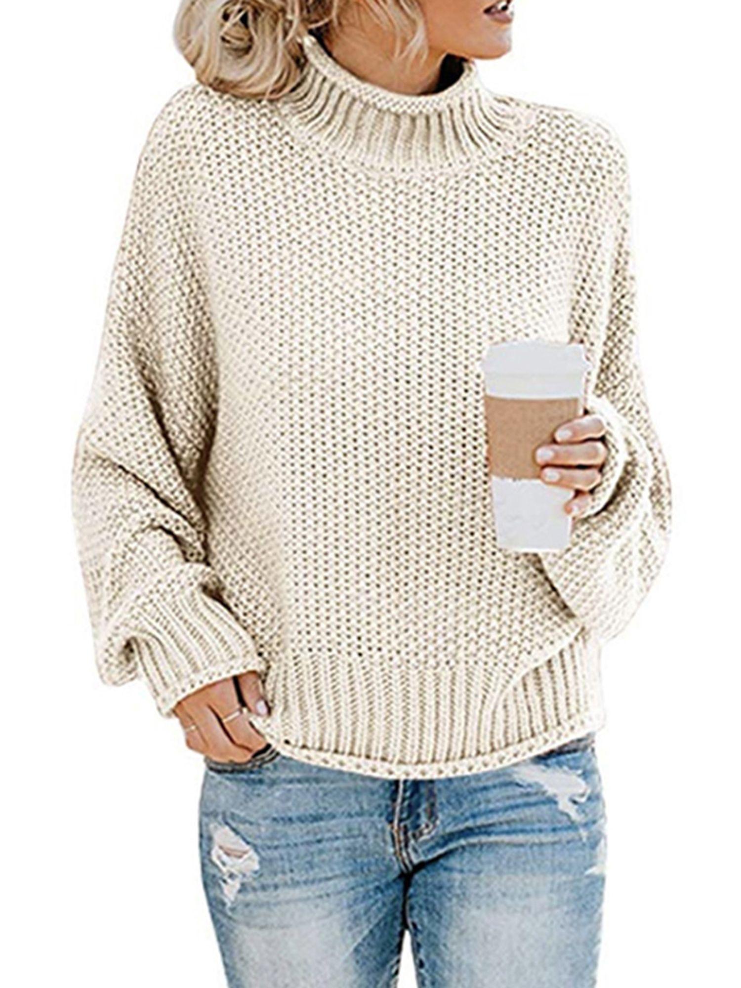 Women's Long Sleeve Sweaters Turtleneck Loose Soft
