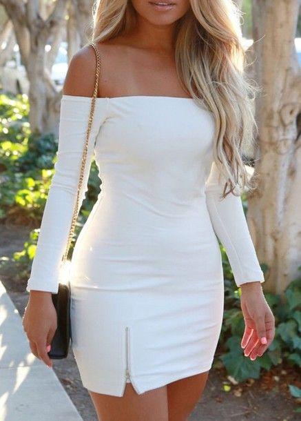 e190a4a8a66b Wheretoget - White bodycon off-the-shoulder zipper dress with black  shoulder clutch bag