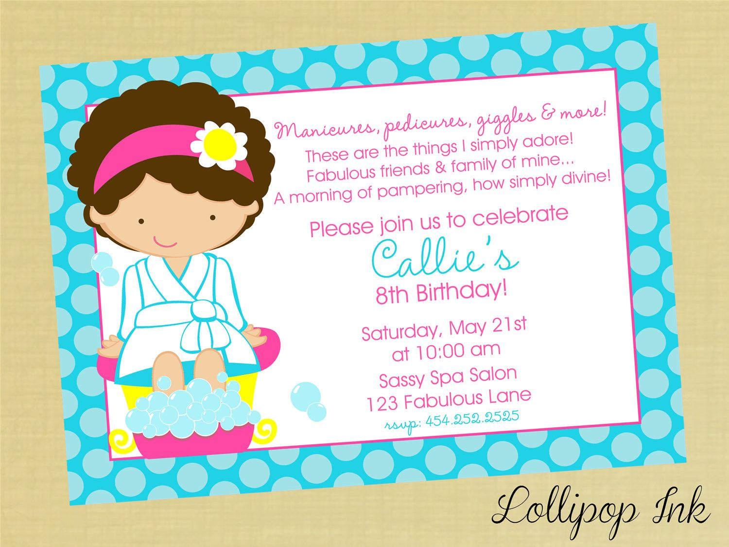 Free Printable Girls Spa Birthday Invitations | Isabels party ...