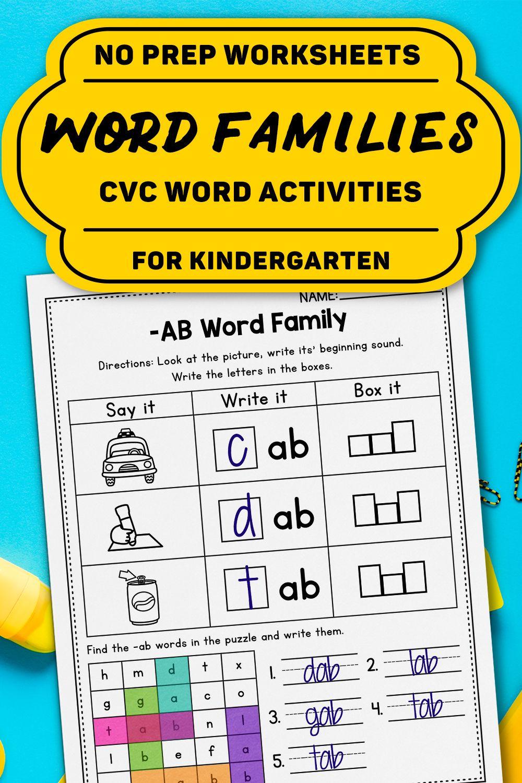Cvc Words Worksheets All Vowels Cvc Word Families Worksheets Kindergarten Cvc Words Word Family Worksheets Cvc Words Worksheets [ 1500 x 1000 Pixel ]