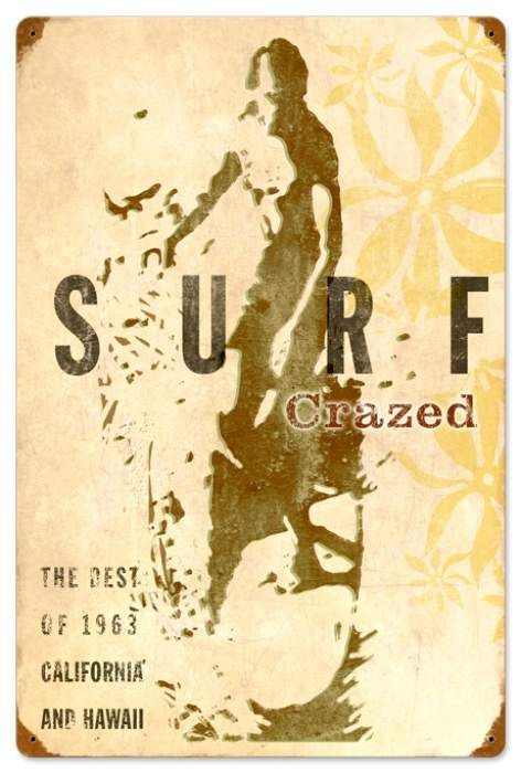 Retro Surf Crazed Metal Sign 16 X 24 Inches