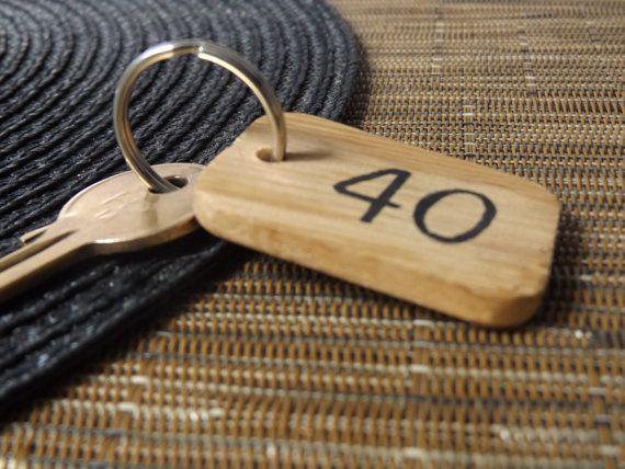 Personalised Number Keyring Engraved Oak Wood Keychain Room