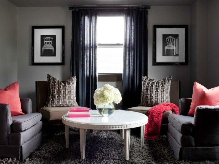 Wohnideen Wohnzimmer Graue Wände Durch Rote Dekoelemente Aufpeppen