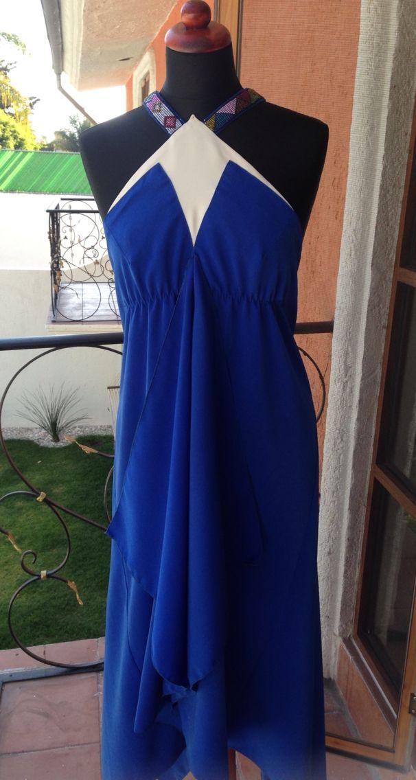 Vestido bordado con bordado en chaquira frente ! | Vestidos ...