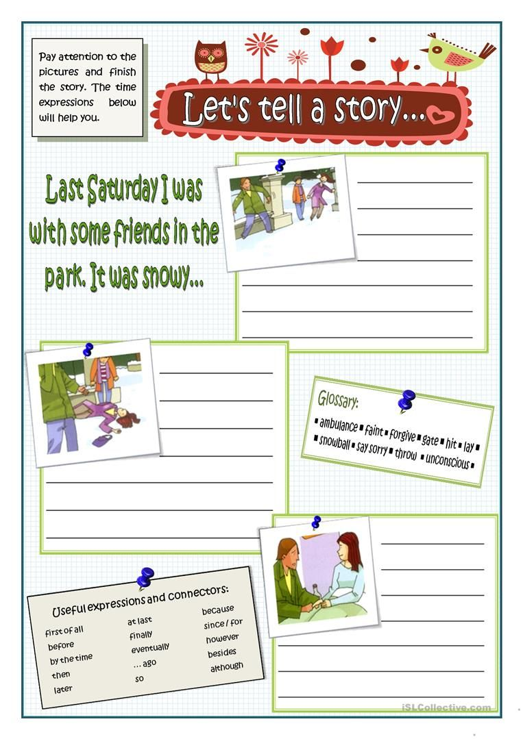 Let S Tell A Story Worksheet Free Esl Printable Worksheets Made By Teachers English Writing Creative Writing Topics Writing Skills [ 1079 x 763 Pixel ]