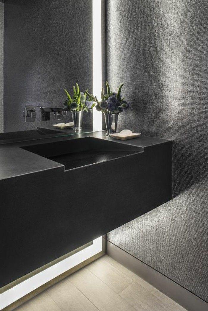 la beaut de la salle de bain noire en 44 images - Salle De Bain Parquet Clair