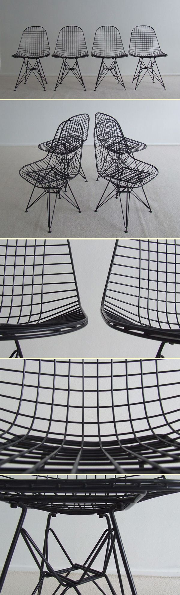 Biscayne wire chairs - Four Charles Eames Eiffel Wire Chairs 1364