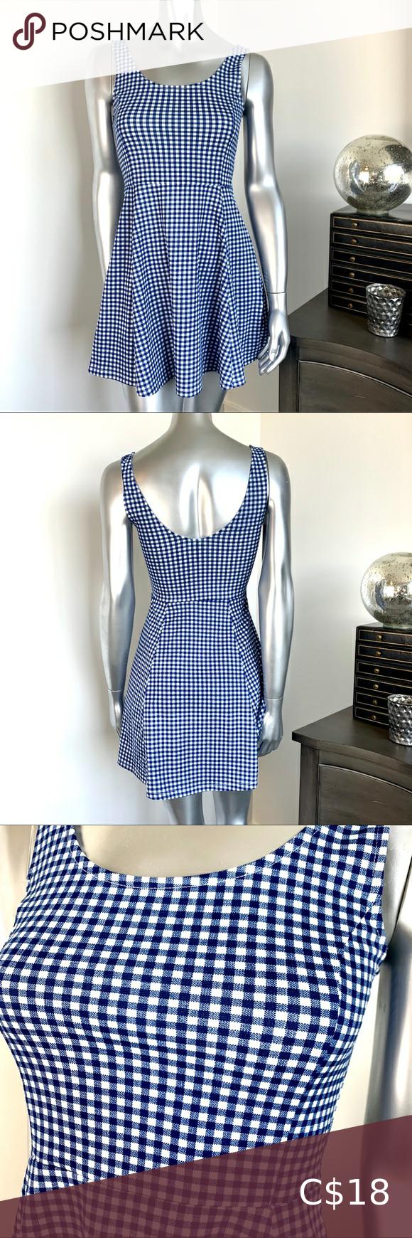 🌟2/$30! DIVIDED H&M Blue Gingham Skater Dress