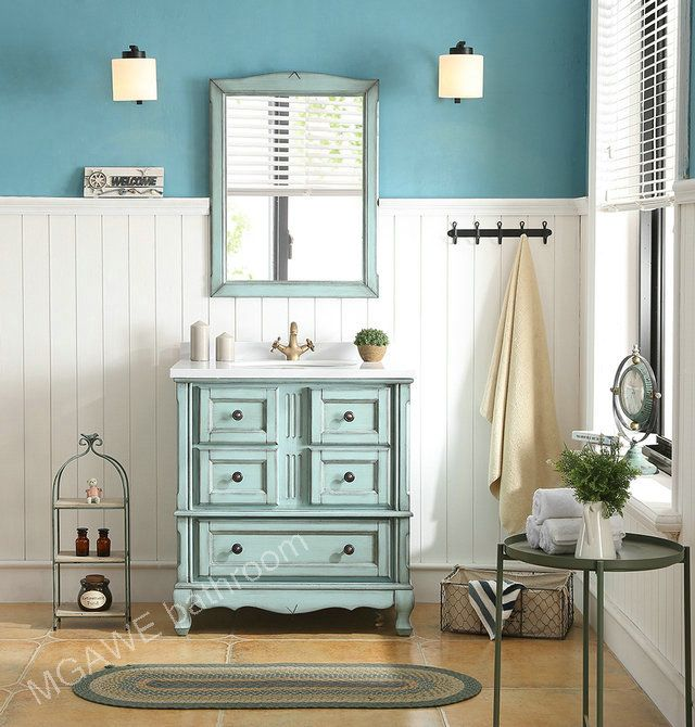 light blue bathroom vanity cabinet combo, with frame bathroom mirror
