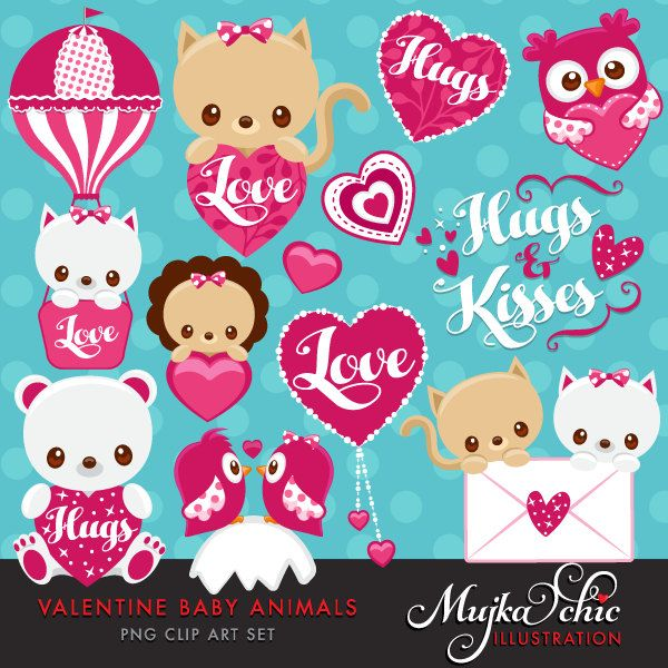 Valentines Day Cute Baby Animals Clipart With Baby Owl Baby Etsy Baby Kittens Cute Animal Clipart Baby Teddy Bear
