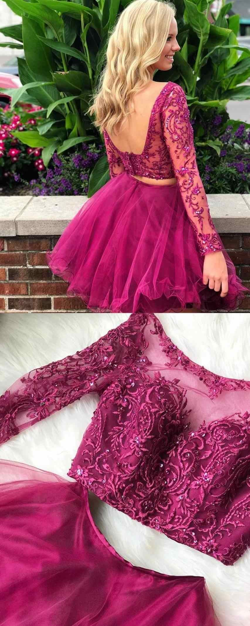 Two piece bateau blue tulle homecoming dress with appliques beading