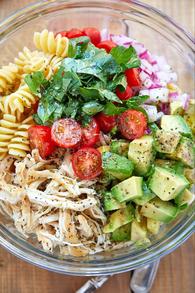 Healthy Chicken Pasta Salad With Avocado Tomato And Basil Recept Nyttig Mat Gronsaksbricka Recept Med Pasta
