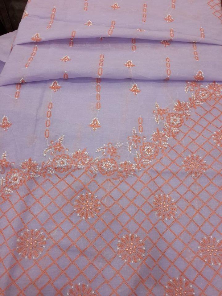 Designer Lucknavi Chikan Cotton Suit Length with exclusive chikankari & chiffon dupatta #chikankari $29.5