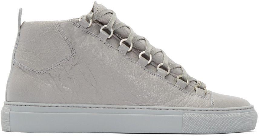 Balenciaga Grey Cracked Leather Arena