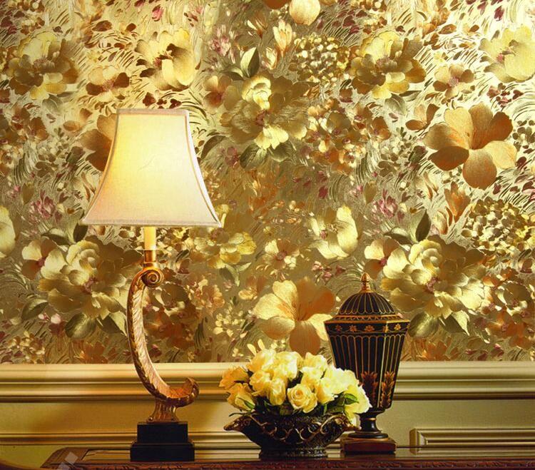 Luxury 3d Metallic Wallpaper Gold Foil Wallpaper For Living Room