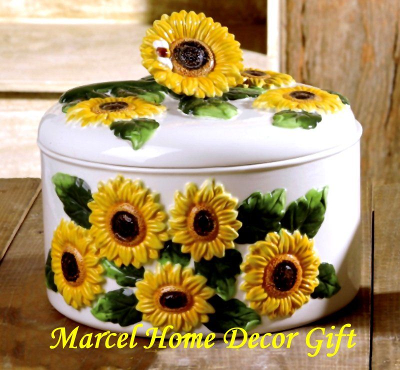 Sun Flowers Kitchen Decorations Tool And Holder Sunflower Country Decor