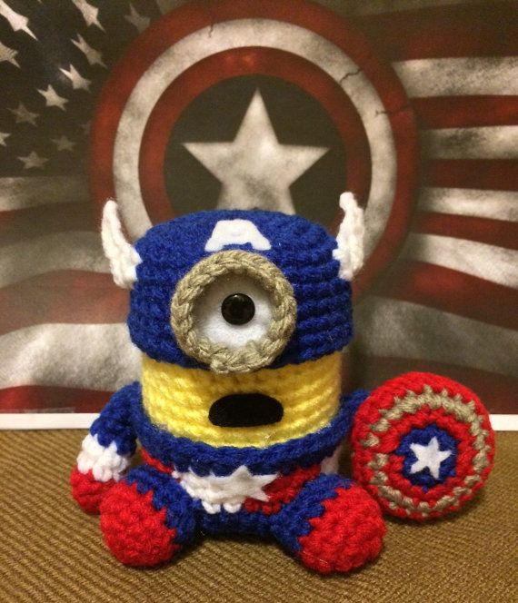 Captain America Minion PDF Pattern Crochet Amigurumi Doll Plush ...