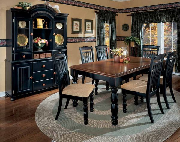 Ashley black dining room set for the home pinterest for Black dining room set