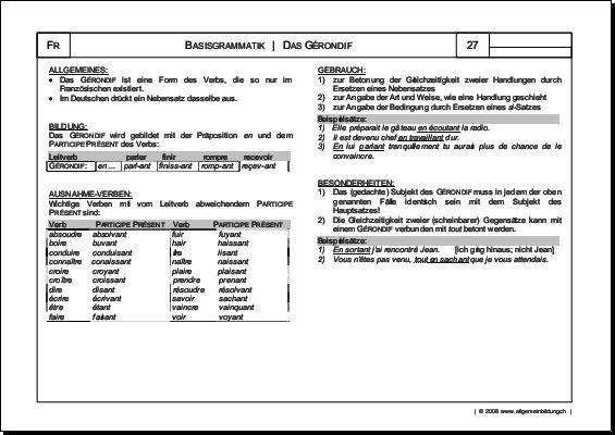 Französisch Arbeitsblatt Gérondif Grammatik 8500 Übungen