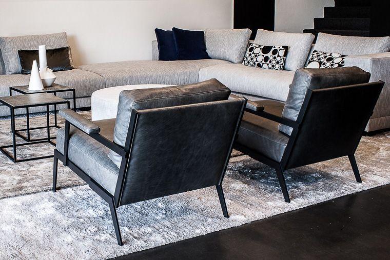Luxe Design Fauteuils.Luxe Design Fauteuil Exclusieve Leder Zwart Grijs Luxe
