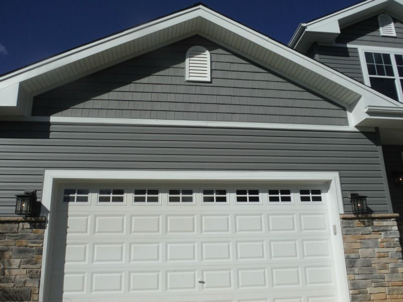 Picture Of Certainteed Siding Both Shake And Lap Above Garage Beach House Exterior Lake Houses Exterior Gray House Exterior