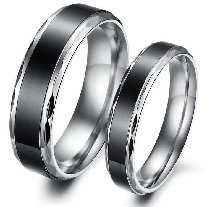 Fancy Vintage Titanium Stainless Steel Mens Ladies Couple Promise Ring Wedding Bands Matching Set Best personalized